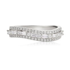 Diamond Wedding Ring with Wavy Band