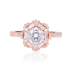 Diamond Ring in Halo Style Embraces by Baguette Diamonds