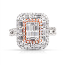 Diamond Ring in 18K White & Rose Gold