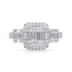 Diamond Ring in Halo Style Flanked by Baguette Side Stones