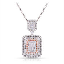 Diamond Pendant in 18K White & Rose Gold