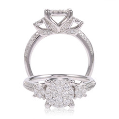 Diamond Ring in Flanked by Side Stones