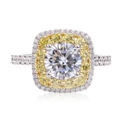 Diamond Ring in Halo Style Wrapped by Round Yellow Diamonds