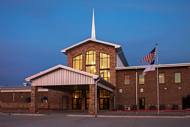 emmanuel-baptist-entrance-evening-weatherfor-oklahoma-md
