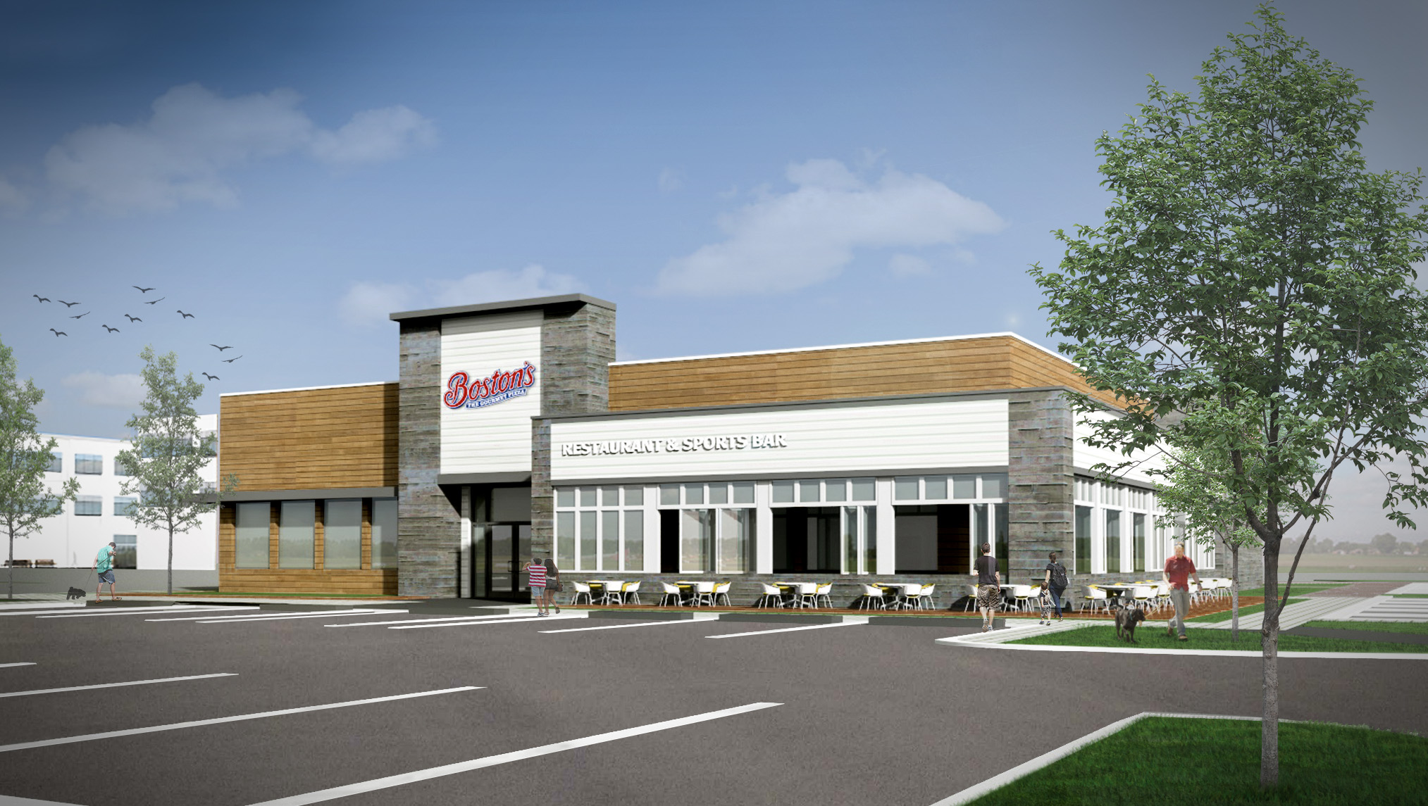 Bostons' Pizza Restaurant Rendering
