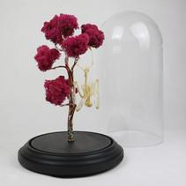 Squelette de chauve souris Roussetus leschenaulti suspendue à son arbre de lichen rose fait de cuivre et d'étain.    Dimensions : 50cm de haut avec le socle et 24cm de diamètre pour la cloche  DISPONIBLE Prix : 350€ Réf : OS330