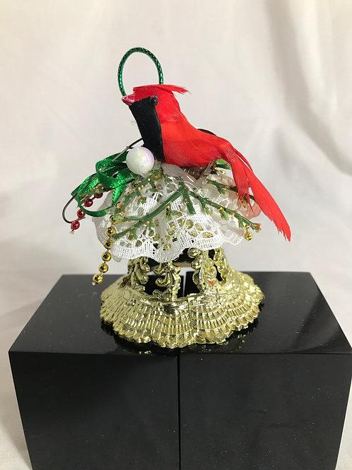 Cardinal on Bell Ornament
