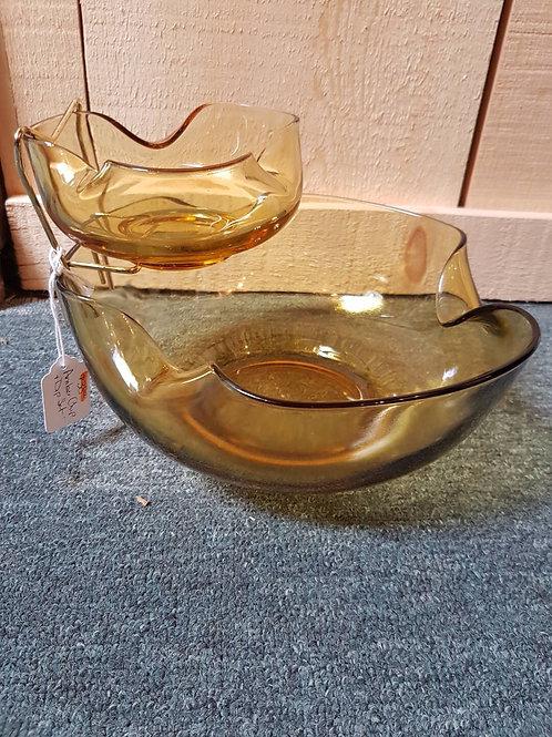Amber glass chip dip set