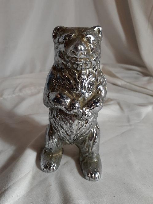 Nickel Plated Brass Bear Bank