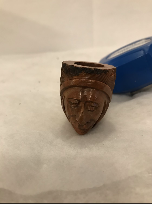 Pipe With Carved Head Bowl