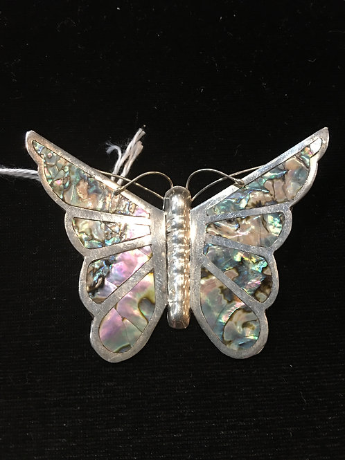 Sterling and Abalone Butterfly Brooch