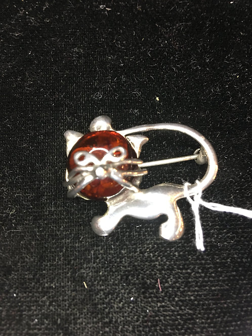 Amber & Sterling Cat Pin