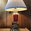 Thumbnail: Pressed and cranberry glass lamp