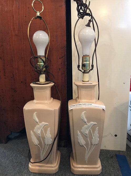 Cream tri light lamps- pair