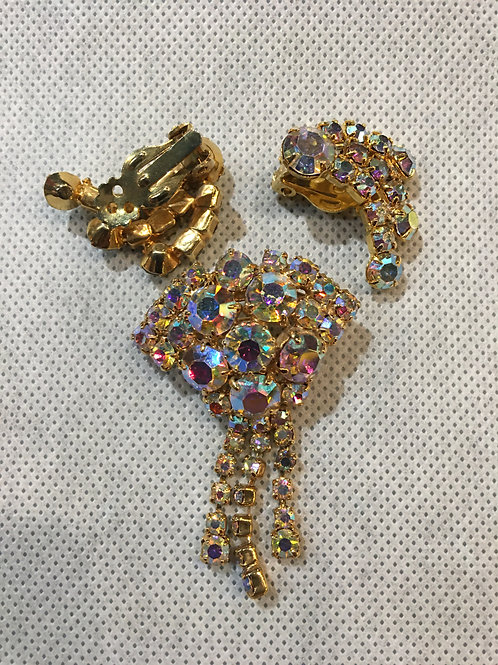 Rhinestone Earrings and Brooch Set