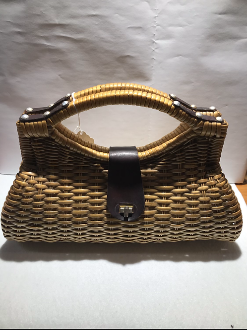 Vintage Wicker Rattan Hand Bag