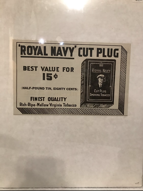 Royal Navy Cut Plug Ad From 1922
