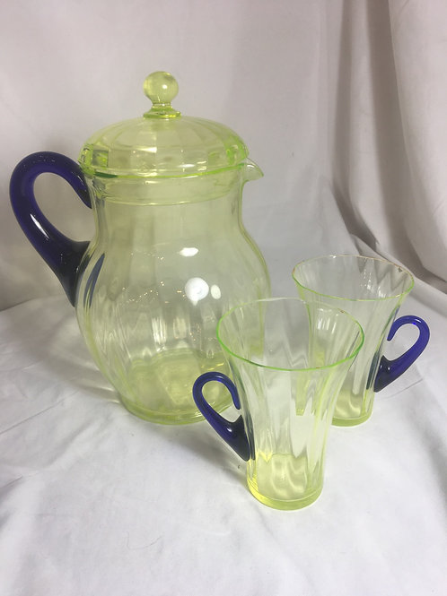 Fenton Vaseline Glass Pitcher and Two Glasses