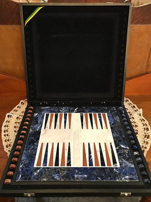 Sodalite and Agate Backgammon Board V48