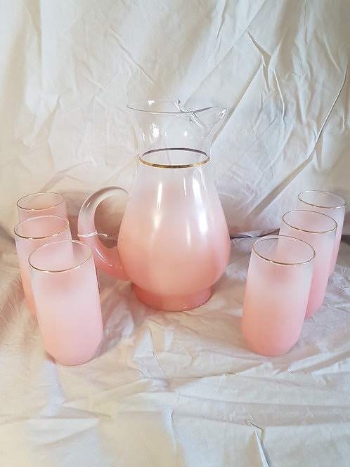 Pink Frosted Pitcher and Glasses