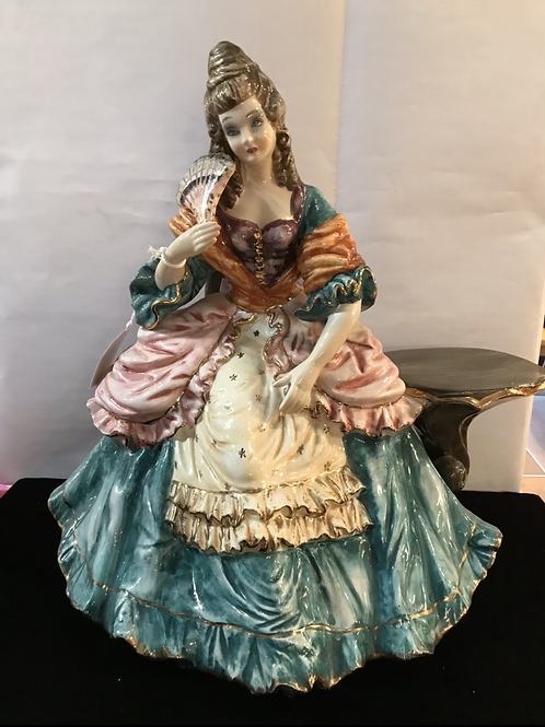 Capodimonte Sitting Lady with Side Table