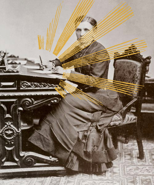 Emmeline B. Wells writing at a desk with stylized rays of light coming out of her pen