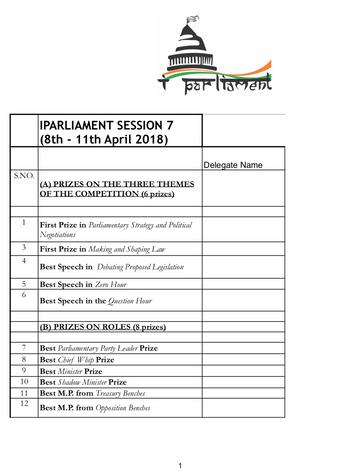 Session 7 Award List