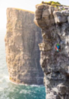 Climbing rockclimbing climb trælanípa Reika Adventures Faroe Islands