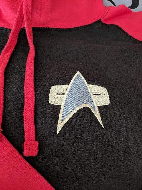 Star Trek - Red & Black Baseball Hoodie.  Choose from 3 badges!