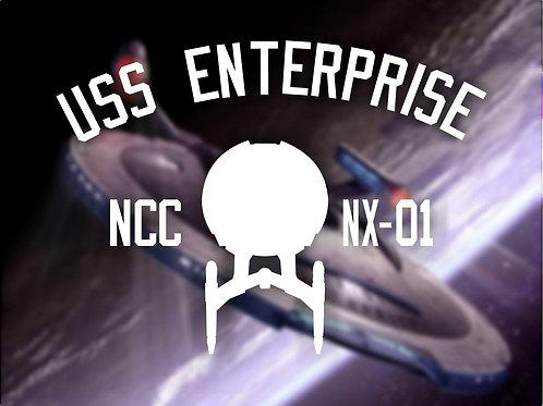 USS Enterprise NX-01 Tee Shirt. Star Trek: Enterprise Star ship print