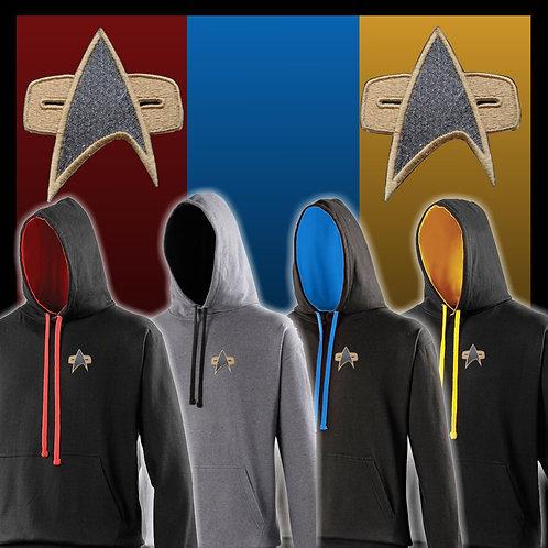 Star Trek Hoodie - Embroidered with Voyager/DS9 Style Starfleet logo