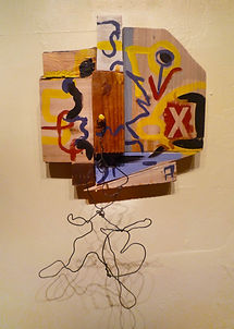 collage construction wood wire art