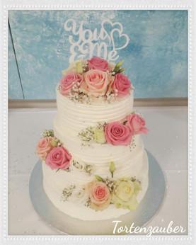 Hochzeitstorte Creme rosa