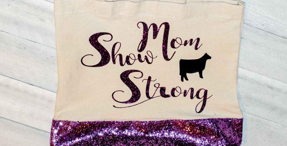 Show Mom Strong Purple Canvas Handbag