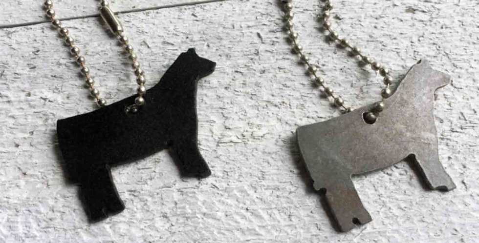 Metal Cattle Cut Out Key Chain