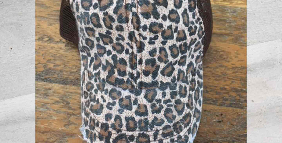 Leopard Print Mesh Backed Cap