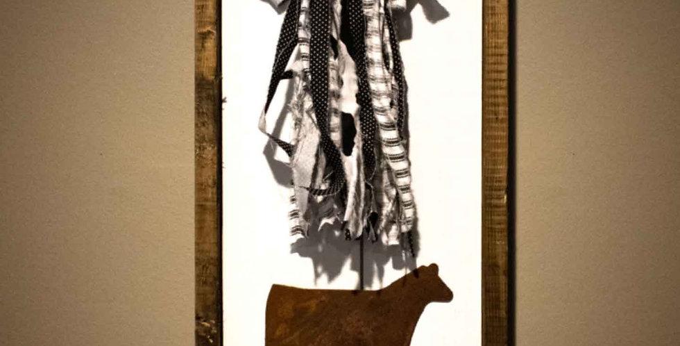 Heifer with Bow - Framed Shiplap