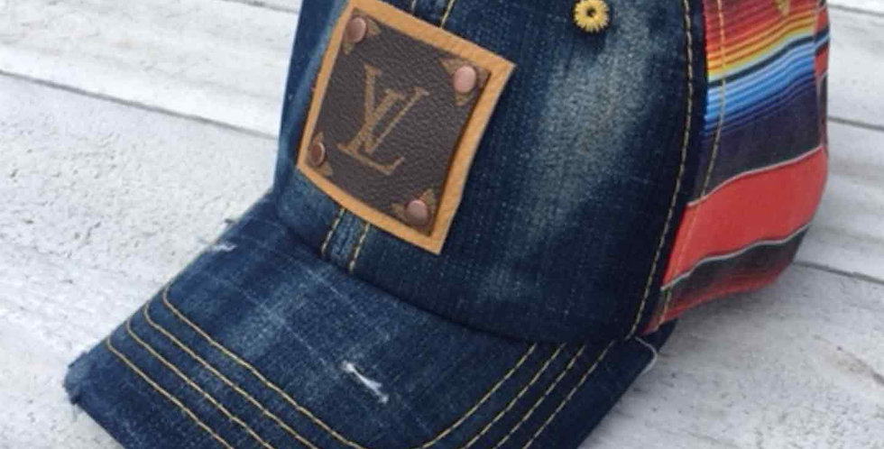 LV Distressed Sherpa Cap with Yellow Patch