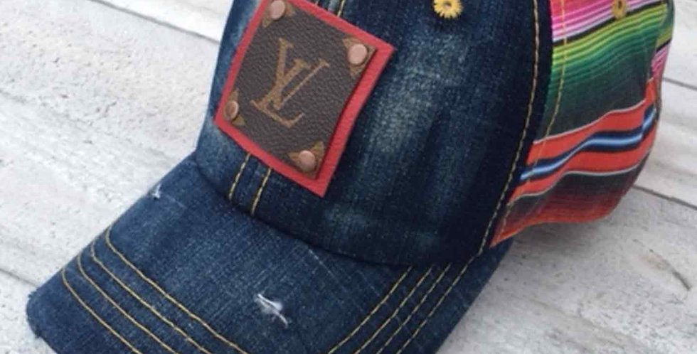 LV Distressed Sherpa Cap with Red Patch