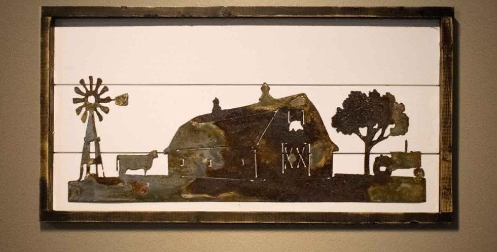 Farm Scene - Framed Shiplap