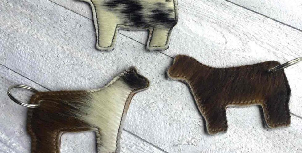 Genuine Cow Hide Leather Heifer Key Chain
