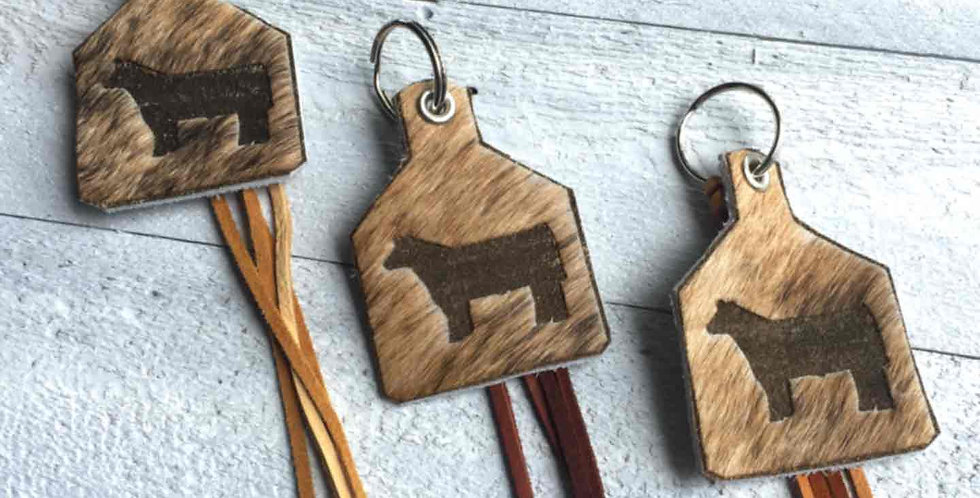 Genuine Cow Hide Tag Key Chain with Laser Cut Calf Image and Fringe