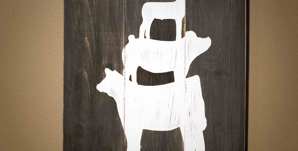 Steer, Pig & Lamb Painted Wooden Decor
