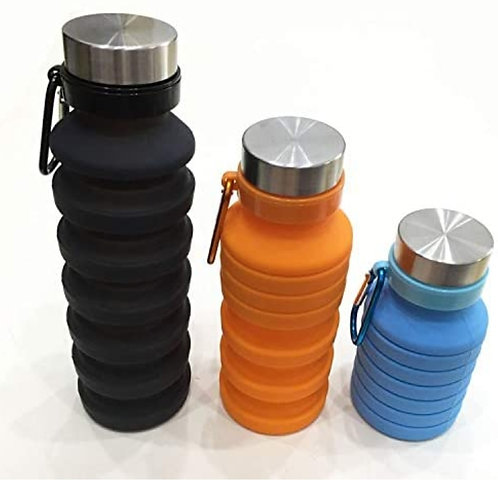 One Silicone Portable Leak Proof Foldable 550ML Water Bottle (Multicolour)