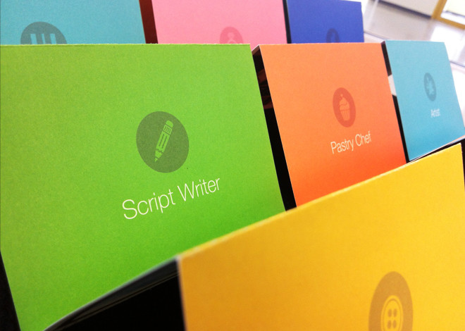 Colourful Job ad cards showing Script Writer, Pastry Chef and others
