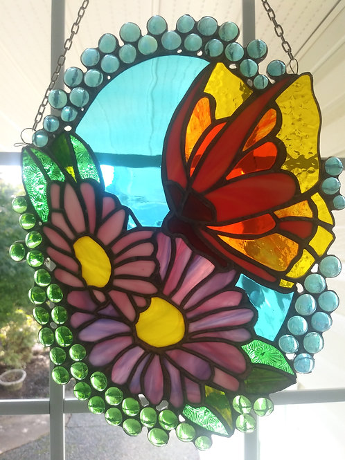Daisies/Butterfly Window Art