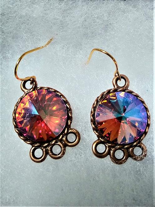 Pink Iridescent Copper Swarovski Crystal Earrings