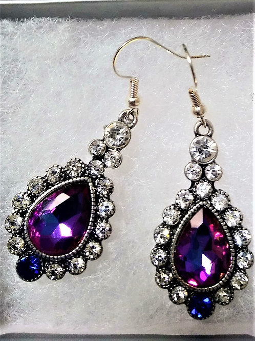 Purple Gem/Rhinestone Drop Earrings