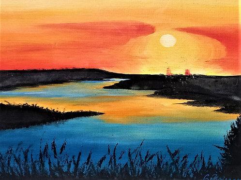 Prairie River Sunset