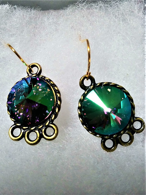 Green/Black Iridescent Swarovski Crystal Earrings